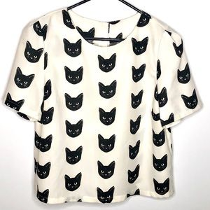 Kitty Black Cat Face Short Sleeve Top Button Back